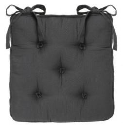 Galette de chaise 5 boutons - L 40 x l 40 x H 6 cm - Gris foncé