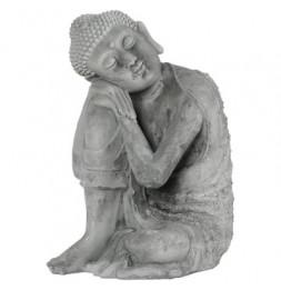 Bouddha assis en ciment - L 25,5 x l 25,5 x H 36 cm