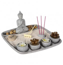 Jardin zen et statuette bouddha - ciment - L 23,9 x l 23,7 x H 11,7 cm