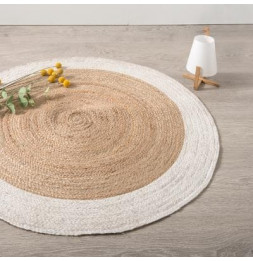 Tapis rond bord blanc en jute végétale - D 120 cm