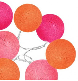 Guirlande Led 10 boules - D 6 cm - Pastel orange et rose