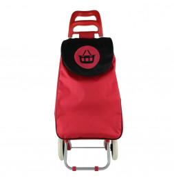 Chariot de course motif pictogramme panier - 2 roues - L 34 cm x H 96 cm - Rouge