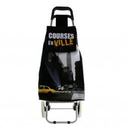 Chariot de course thème ville - 2 roues - L 35 cm x H 95 cm - Noir