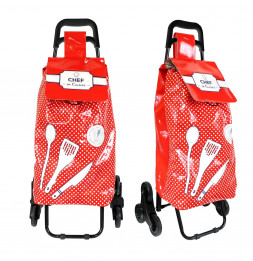 Chariot de course thème cuisine - Chef en cuisine - 6 roues - L 39 cm x H 97 cm - Rouge