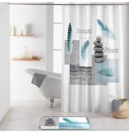 Rideau de douche avec crochets imprimé Equilibre - L 200 x l 180 cm - Polyester
