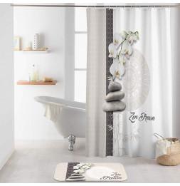 Rideau de douche avec crochets imprimé OrchiZen - L 200 x l 180 cm - Polyester