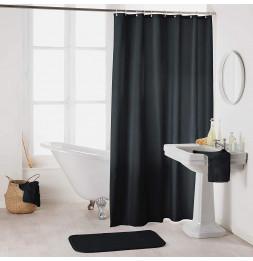 Rideau de douche en polyester uni avec crochets - L 200 x l 180 cm - Noir