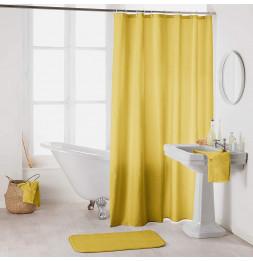 Rideau de douche en polyester uni avec crochets - L 200 x l 180 cm - Jaune