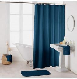 Rideau de douche en polyester uni avec crochets - L 200 x l 180 cm - Bleu nuit