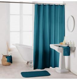 Rideau de douche en polyester uni avec crochets - L 200 x l 180 cm - Bleu pétrole