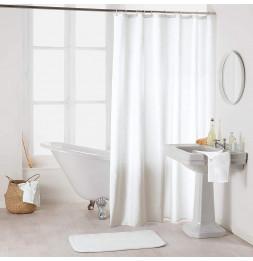 Rideau de douche en polyester uni avec crochets - L 200 x l 180 cm - Blanc
