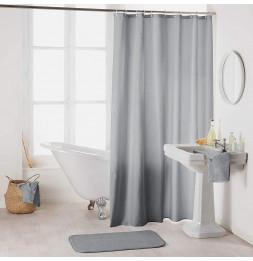 Rideau de douche en polyester uni avec crochets - L 200 x l 180 cm - Gris
