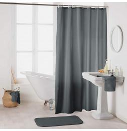 Rideau de douche en polyester uni avec crochets - L 200 x l 180 cm - Gris foncé