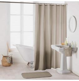 Rideau de douche en polyester uni avec crochets - L 200 x l 180 cm - Taupe