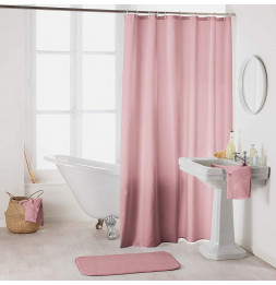Rideau de douche en polyester uni avec crochets - L 200 x l 180 cm - Rose