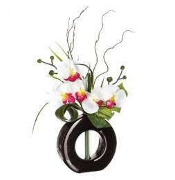 Composition orchidée vase - 36 x 16 x 44 cm - Porcelaine - Modèle aléatoire