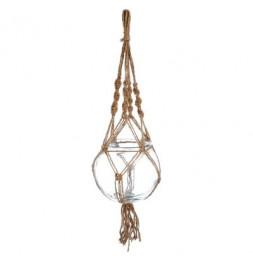 Cache-pot en verre à suspendre - Raffia - D 18 x H 16 cm