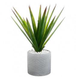 aloe vera avec son pot en céramique - Plante artificielle - H 48 cm