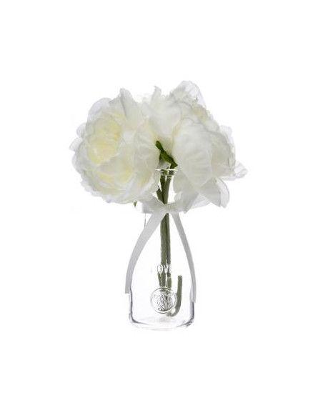 Composition florale - 3 pivoines artificielles - H 25 cm