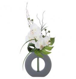 Composition florale en vase gris - Orchidée artificielle - Modèle aléatoire