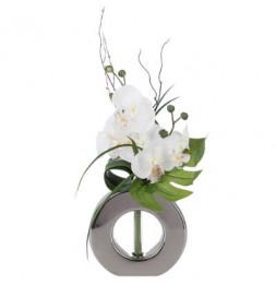 Composition florale en vase argenté - Orchidée - Modèle aléatoire
