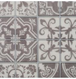 Sticker effet carrelage en ciment - Lot de 2 plaquettes de 24 carreaux - Fond foncé