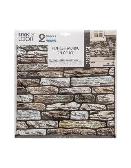 Sticker effet mur de briques - Lot de 2 - 30 x 30 cm - Taupe