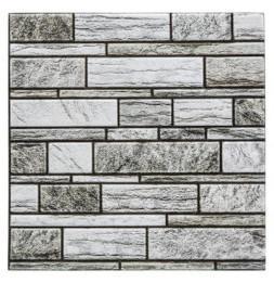 Sticker effet mur en pierre - Lot de 2 - 30 x 30 cm - Gris