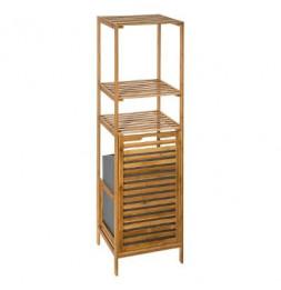 Etagère 2 niveaux avec panier à linge - L 35 x L 32x H 118 cm - Bambou
