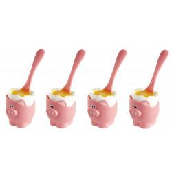 Coquetier et cuillère cochons - Coffret de 4 coquetiers - JOIE