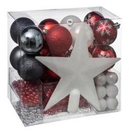 Kit de 44 décorations pour sapin - Rouge et gris - Guirlandes, boules et cimier