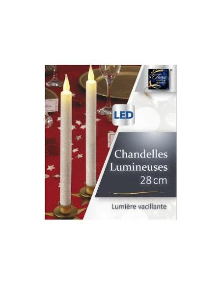Bougie à LED pailletée blanc - Chandelle H 28 cm - Décoration de Noël