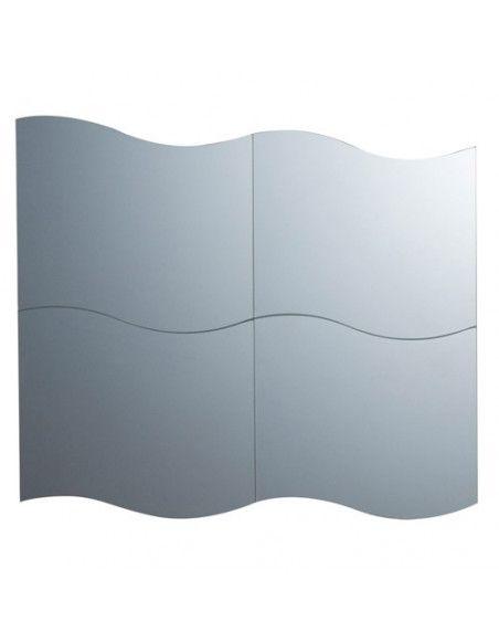 Lot de 4 miroirs adhésifs en forme de vague - 30 x 30 cm - Verre