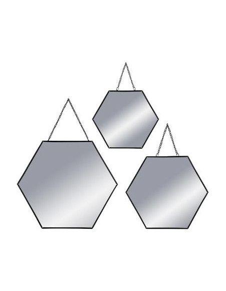 Lot de 3 miroirs - Forme hexagonale - Noir