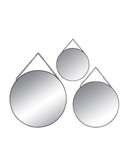 Lot de 3 miroirs ronds - Noir