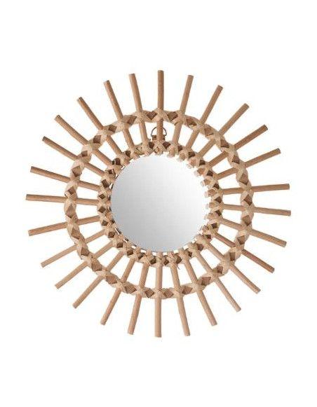 Miroir en rotin - Forme de soleil - D 30 cm