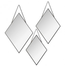Lot de 3 miroirs en forme de losange - Noir