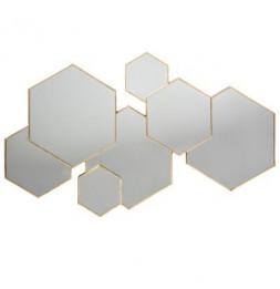 Miroir design - 7 hexagones - Lila - 61 x 38 cm