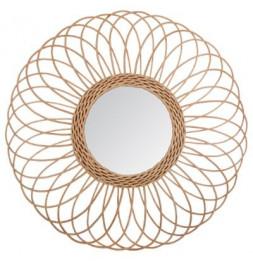 Miroir en forme de rosace - D 58 cm - Rotin