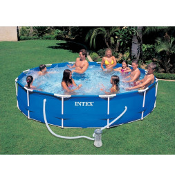 Kit piscine tubulaire 3m66 x H 0.76 cm en métal ronde - Epurateur à cartouches inclus -  Intex