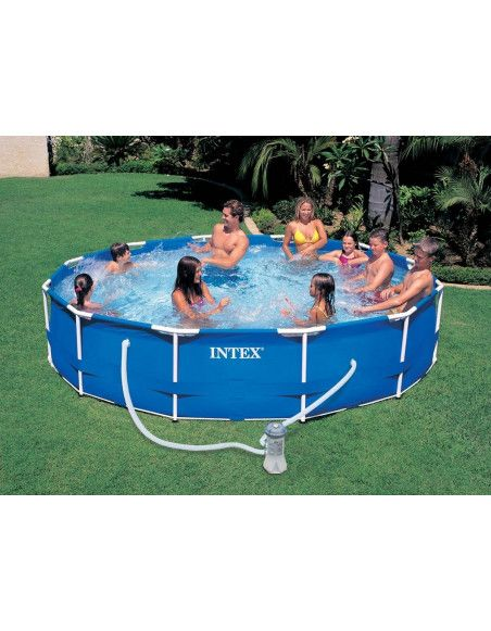 Kit piscine tubulaire 3m66 x H 0.76 cm en métal ronde - Epurateur à cartouches inclus -  Intex