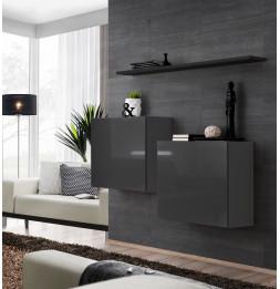Commode - Switch SB I - 2 vitrines carrées - 1 étagère - Noir et graphite - Modèle 1