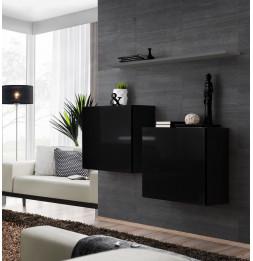 Commode - Switch SB I - 2 vitrines carrées - 1 étagère - Noir et graphite - Modèle 2