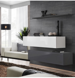 Commode - Switch SB II - 2 bancs TV - 1 étagère - Blanc et graphite - Modèle 1