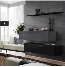 Commode - Switch SB II - 2 bancs TV - 1 étagère - Noir et graphite - Modèle 1