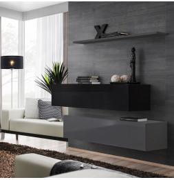 Commode - Switch SB II - 2 bancs TV - 1 étagère - Noir et graphite - Modèle 2