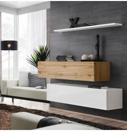 Commode - Switch SB II - 2 bancs TV - 1 étagère - Bois et blanc - Modèle 1