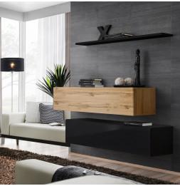 Commode - Switch SB II - 2 bancs TV - 1 étagère - Bois et noir - Modèle 1