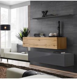 Commode - Switch SB II - 2 bancs TV - 1 étagère - Bois et graphite - Modèle 1