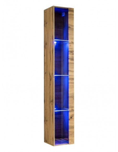 Vitrine verticale - Switch WW 1 - L 30 cm x P 30 cm x H 180 cm - Bois